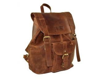 "Menzo ""Merano"" leather backpack, backpack, backpack, genuine leather, perfect for students, teachers, students, and for the work or Office"
