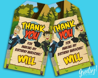 Wild Kratts Thank You Tags, Wild Kratts Birthday Favor Tags, Wild Kratts Party Tags, Wild Kratts Tags, Wild Kratts Printable Supply, Kratts