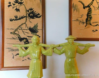 Asian Water Carriers by Gonder Ceramics 1949 in avocado chartreuse green  SHIPPING INCLUDED