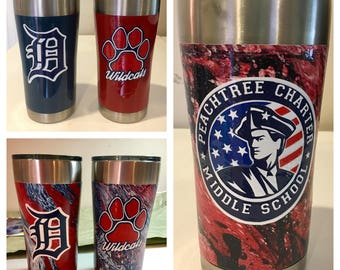 Painted Stainless Steel Tumbler with Layered Vinyl Decal