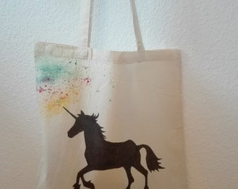 Jute bag Unicorn/Unicorn, multi colored, hand painted