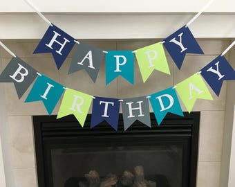 Happy Birthday Banner, Boy Birthday Banner, Birthday Party Decoration, Grey, Blue, Green, Photo Prop