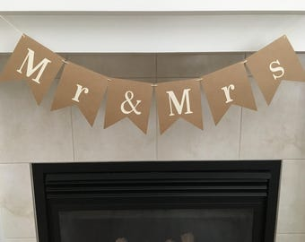 Mr & Mrs Banner, Wedding Banner, Wedding Props, Table Decoration, Photo Prop, Marriage, Burlap