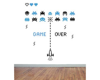 SPACE INVADERS Style vinyl wall sticker video games kids room arcade retro