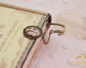 Simple elegant bookmark,glass photo art bookmark,vintage retro bronze style,forest bookmark,antique bookmark