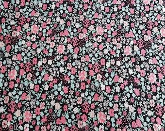 Knit jersey floral fabric -sewing, dressmaking, birthday, gift for mum, kids summer dress, tops, leggings -UK seller