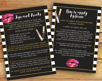 LipSense Tips and Tricks Card ,  LipSense Application Card  - Lipsense - 4x6 and 5x7 inches - Immediately available after your purchase