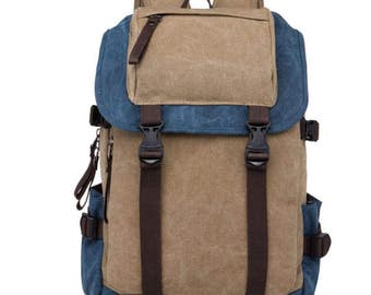 Backpack Rucksack, Laptop BAG Canvas Brown and Blue Computer Tablet PC, Quality Business Laptop, Perfect Gift, Men Ladies Suitcase Luggage