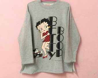 Vintage Betty Boop Big Print Grey Colors Spellout Sweatshirt