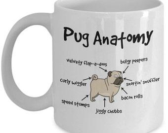 Pug Anatomy Coffee Mug; pug mug, gift for pug lovers, pug coffee mug, funny pug mug, pug lovers gift, pug dad, made in USA