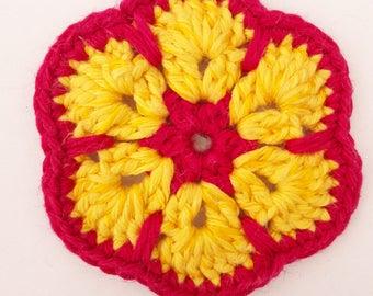 African Flower Crochet Magnet