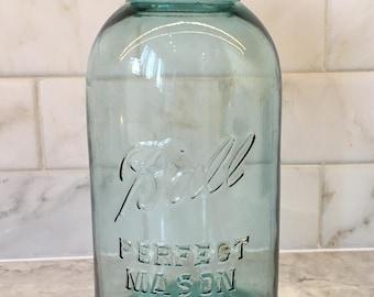Large Vintage Half Gallon Blue Ball Jar 1920s - 1930s