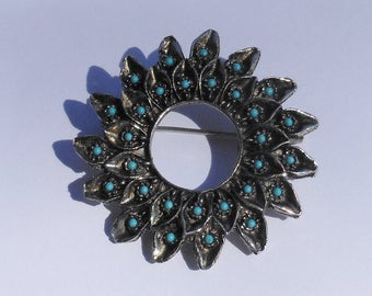 Vintage Silver Brooch with Turquoise Seed Beads