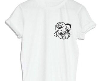 Mini Pug Wear Baseball Cap T-Shirt Dog Shirt Dog Hipster Print Shirt Unisex Size Tumblr Pinterest