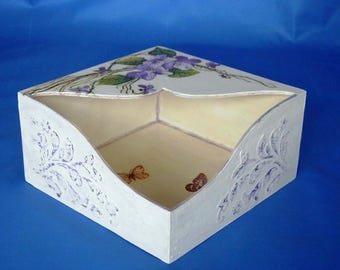 White Napkin, Wood Napkin Holder, Wooden Napkin Stand, Square Handmade Napkin Holder