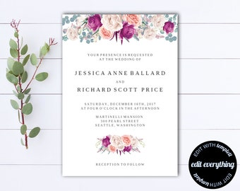 Floral Boho Wedding invitation Template - Floral Wedding Printable Invitation - Instant Download Wedding Invitations - Printable Invitation