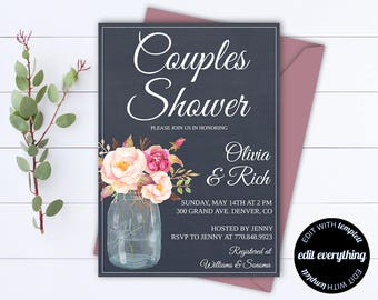 Navy Blue Couples Shower Invitation Template - Couples Shower Invite - Instant Download Couples Shower Invitation - Wedding Shower Invite