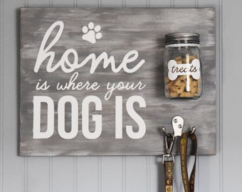 Home is Where Your Dog is Wood Sign with Treat Jar and Leash Hook