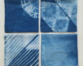 Indigo Napkins, Shibori Napkins, Indigo Table Linens, Set of 4