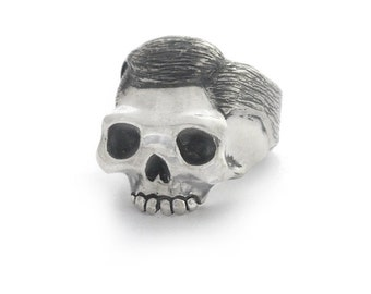"Skull Ring, Silver Skull Ring, 925 Sterling Silver ""The Gentleman"" Skull Ring"