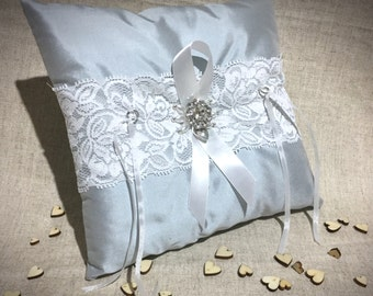 Blue 100% Pure Silk Ring Cushion With Lace, Ribbon, Rhinestone Flower Diamante and Love Heart Charm