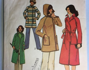 1977 Vintage Simplicity Sewing Pattern 7936 Coat with Detachable Hood  Size 10 83cm Bust