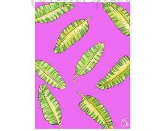 Botanical Banana Leaf Print | pink, green, trend, wall art