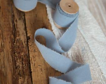"""Dusty Blue ribbon 1"""" Hand dyed Cotton bridal bouquet blue ribbon, Wedding decor ribbon, gift wraps, cottage chic wedding, boho style blue"""