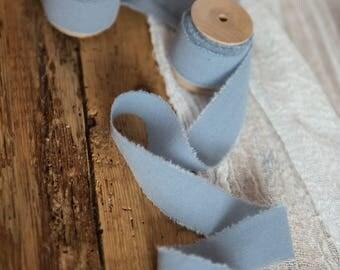 "Dusty Blue ribbon 1"" Hand dyed Cotton bridal bouquet blue ribbon, Wedding decor ribbon, gift wraps, invitation ribbon, vegan wedding"