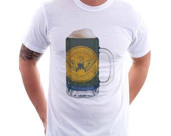 Atlanta City Flag Beer Mug Tee, Unisex, Home Tee, City Pride, City Flag, Beer Tee, Beer T-Shirt, Beer Thinkers, Beer Lovers Tee
