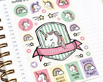Unicorn Stickers, Unicorn Planner Stickers, Rainbow Stickers, Book Stickers, Sheet of 27 Stickers