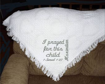 Personalized baby blanket with I prayed for this child saying on an afghan 100% cotton USA made white blanket with hearts throw