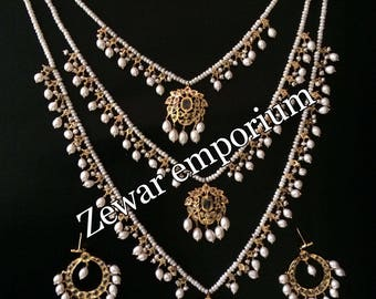 ZE-N04 Three layer bridal necklace in real pearls/ gift for her/ bridal jewelry/ hyderabadi jewelry