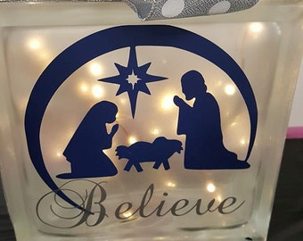 Believe Nativity Lighted Glass Block