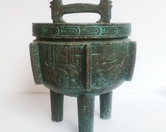 Vintage Mid Century James Mont Style Ice Bucket  Cast Metal  with Patina
