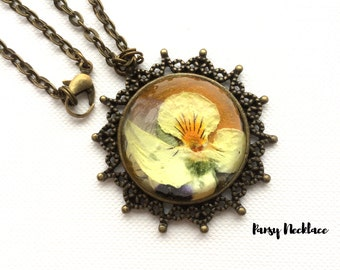 Pansy Flower Necklace. Real Flower Resin Jewellery, Mother's Day Gift, Best Friend Gift, women's Gift,Gifts For Her, Bridesmaids Gift.