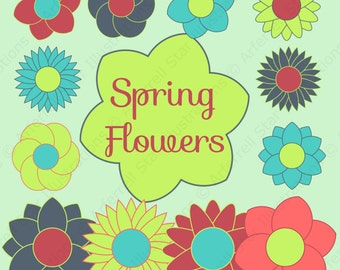 Spring Flowers Instant Download Digital Clip Art Commercial Use - CA001