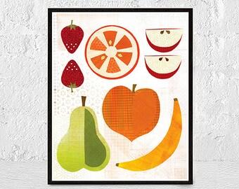 Fruit Prints, Kitchen Prints, Scandinavian Design Fruit Prints, Kitchen Prints, Scandinavian Wall Art, Retro Print, Kitchen Fruit Wall Art