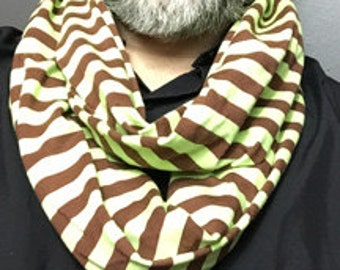 Mint Green and Chocolate Brown Stripe Infinity Scarf