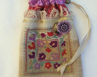 Tarot bag, red, vintage embroidered linen front, handmade