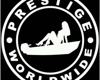 Prestige worldwide boats and hoes Jon boat skiff  vinyl die cut sticker decal