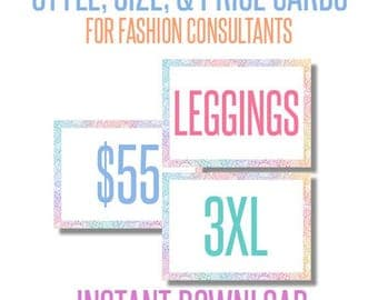 Size Cards, Style Cards, Prices Cards for Independent fashion consultant