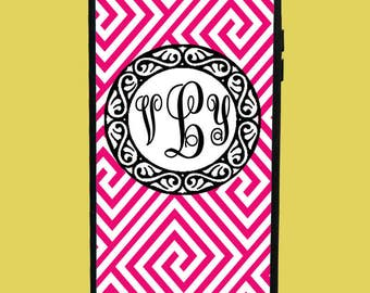 Pink Zigzag Design Phone Case with 3 initials.  Customized Name. Monogrammed Case. Personalized.