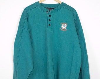 MIAMI DOLPHINS teal sweatshirt - vintage 80s / 90s - dolphin logo L - XL