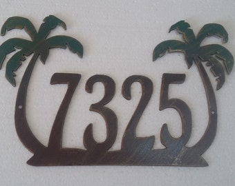 Palm Tree Metal House Number Sign, Any Number