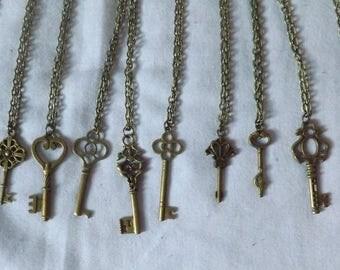 Bronze Key Pendant Necklaces