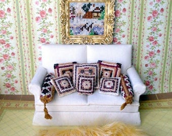 Set pillows. Hand Embroidery . Dolls house miniature. Handcrafted miniature. For doll House. 1:12 Scale