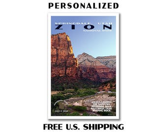 Personalized Zion Poster, zion print, national park print, national park poster, zion art, zion national park, zion canyon, travel poster