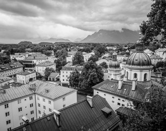 Salzburg Photography, Austria Print, Wall Art, Cityscape, Fine Art Photography, Salzburg Photo, Austria, Salzburg Print, Black and White