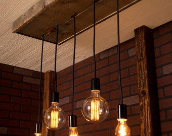 Industrial lighting Chandelier With Reclaimed Wood and 5 Pendants